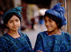 Guatemalan girls in their traditional clothing from the town of Santa Catarina Palopó on Lake Atitlán