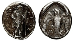 "Didrachm of Themistocles in Magnesia. Obv: Apollo standing in clamys, legend around ΘΕΜΙΣΤΟΚ-ΛΕΟΣ (""Themistokles""). Rev: Eagle with letters Μ-Α (""Magnesia"").[103]"