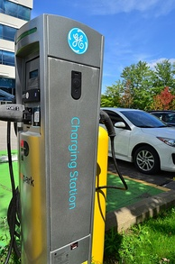 A General Electric EV charging station in North America