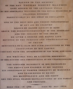The epitaph of Rev. Thomas Robert Malthus, just inside the entrance to Bath Abbey.