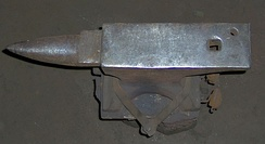 A top view of a well-used London pattern anvil