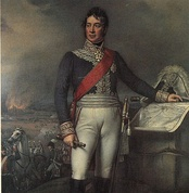Painting shows a man standing with his left hand on a map while his left hand holds a telescope, while a battle rages in the background. He wears a blue military coat and white breeches while his bicorne hat sits on the map table.