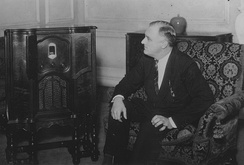 Roosevelt listens to radio coverage of the balloting on July 1 from his residence in Hyde Park