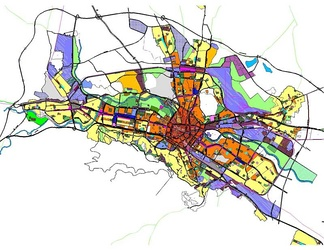 The Zoning Scheme of the General Spatial Plan for the City of Skopje, North Macedonia. Different urban zoning areas are represented by different colors.
