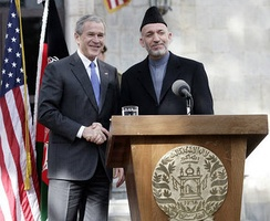 President Bush and President Hamid Karzai of Afghanistan appearing at a joint news conference in Kabul, March 1, 2006
