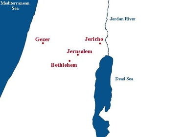 Location of the city of Gezer.