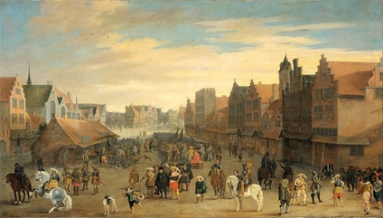 Maurice disbands the waardgelders on the Neude (town square) in the City of Utrecht, July 31, 1618.  The pivotal event in the Remonstrant/Counter-Remonstrant tensions. By Joost Cornelisz Droochsloot