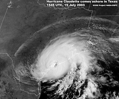 Hurricane Claudette making landfall on Texas on July 15