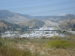 I-5 in the Newhall Pass Interchange, where it intersects with I-210 and SR 14 near Santa Clarita