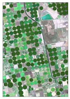 The picture is satellite image of irrigated crops and Kahov irrigation canal. It is captured 7-Aug 2015 by Landsat 8 (OLI). The image is created as True Color Composite. This band combination is suitable for crop monitoring. For emphasizing characteristics, the image was pan-sharpened by panchromatic band. Nonlinear adaptive procedure of contrasting was applied too.
