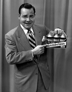 """Johnny"" Winters promoting Gambrinus Beer in the early 1950s for August Wagner Breweries, Inc. on WBNS-TV in Columbus, Ohio"