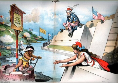 "An American cartoon published in Judge, February 6, 1897: Columbia (representing the American people) reaches out to the oppressed Cuba (the caption under the chained child reads ""Spain's 16th Century methods"") while Uncle Sam (representing the U.S. government) sits blindfolded, refusing to see the atrocities or use his guns to intervene (cartoon by Grant E. Hamilton)."