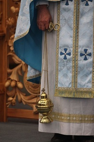 Orthodox priest with hand censer
