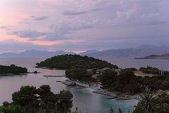 The Islands of Ksamil in the souht of the Albanian Ionian Sea Coast.