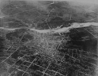 An 1887 aerial photo of Los Angeles, taken from a balloon.