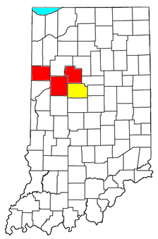 Location of the Lafayette-Frankfort CSA and its components:   Lafayette Metropolitan Statistical Area   Frankfort Micropolitan Statistical Area
