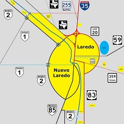 Map of the Laredo-Nuevo Laredo Metropolitan Area