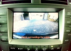 Backup camera view on the navigation screen of a Lexus IS 250