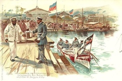 German Captain Thiele of the Charlotte handing over the German Ultimatum on 6 December 1897 during the Luders Affair