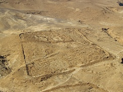 "Castrum at Masada. Note the classical ""playing-card"" layout."