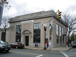 The exterior of a former MassBank branch in Melrose, Massachusetts, was used for the main robbery of the film.