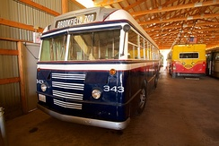 Former Montebello bus 17, a 1944 Ford Transit Bus, is preserved at the Illinois Railway Museum, repainted and renumbered for a former Chicago-area bus company.