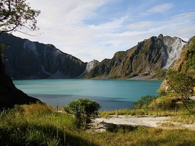 Lake Pinatubo, Philippines, formed after the 1991 eruption of Mount Pinatubo