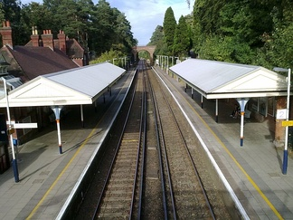 Oxshott railway station on the New Guildford line.