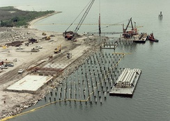 Pile driving operations in the Port of Tampa, Florida.