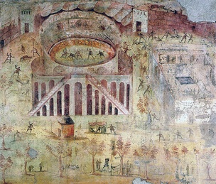 Wall painting depicting a sports riot at the amphitheatre of Pompeii, which led to the banning of gladiator combat in the town[381][382]