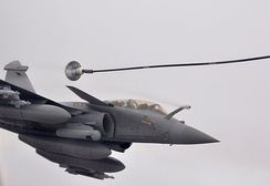 A two-seater Rafale B during aerial refueling