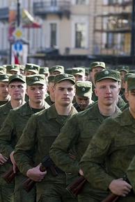 Russian soldiers on parade in Saint Petersburg in 2014