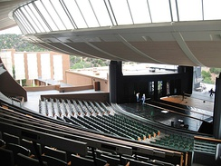 The interior of the Crosby Theatre at the Santa Fe Opera; viewed from the mezzanine in 2006.