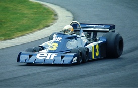 The Tyrrell P34 being driven by Jody Scheckter at the 1976 German Grand Prix at the Nurburgring. The '76 Swedish GP was its only win, and Scheckter won this race from the pole.