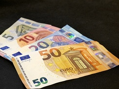Euro banknotes from the Europa series (€100 & €200 notes not yet in circulation)