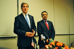 Former Foreign Minister of Ethiopia Tedros Adhanom with former U.S. Secretary of State John Kerry