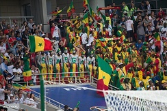 Senegalese football fans at the 2018 FIFA World Cup in Russia