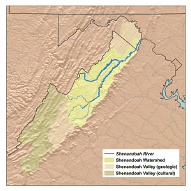A map of the Shenandoah Valley.