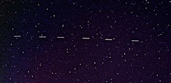 Some Starlink 6 satellites (magnitude 3.3) seen in a two-second exposure.