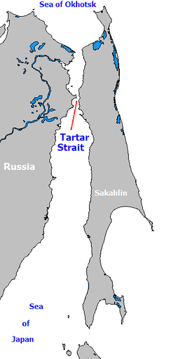 The Strait of Tartary connects the Sea of Okhostsk to the Sea of Japan.