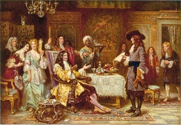 The Birth of Pennsylvania, 1680, by Jean Leon Gerome Ferris - William Penn, holding paper, and King Charles II