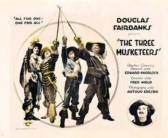 Movie poster for The Three Musketeers (1921) starring Douglas Fairbanks.