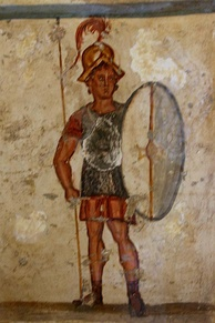 Fresco of an ancient Macedonian soldier (thorakites) wearing chainmail armor and bearing a thureos shield, 3rd century BC, İstanbul Archaeology Museums