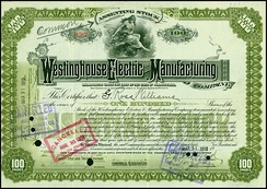 Share of the Westinghouse Electric and Manufacturing Company, issued 31. March 1910