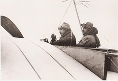1910:Robert and Léon Morane before takeoff in two-seat Bleriot XI. Both were nearly killed when the machine crashed shortly after. The brothers decided to start their own company afterward.