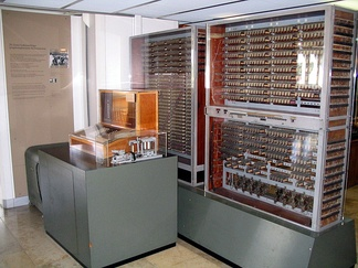 Zuse Z3 replica on display at Deutsches Museum in Munich. The Zuse Z3 is the first programmable computer.