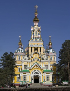 Zenkov Cathedral, a 19th-century Russian Orthodox cathedral located in Panfilov Park, is the fourth tallest wooden building in the world.[13]