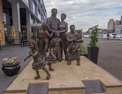 """Life From A Suitcase"" sculpture installed at Pyrmont dedicated to immigrants in Australia"
