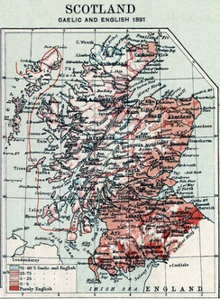 1891 distribution of English (including Scots) and Gaelic in Scotland    75–80% Gaelic, and English ━ 25–75% Gaelic, and English; line indicates the 50% isogloss    5–25% Gaelic, and English   0–5% Gaelic, and English   Purely English