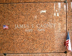 Granite stone engraved with Cagney's name.